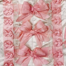 Unknown 18th Century Swedish Needleworker - Detail of pink ribbon work on a child's silk shirt, ca. 1775