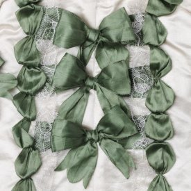 Unknown 18th Century Swedish Needleworker - Detail of green ribbon work on a child's silk shirt, ca. 1775