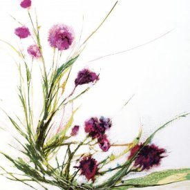 Jan Griggs - Flowers in the Wind on White