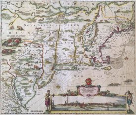 Justus Danckers - New England and New York with inset depicting lower Manhattan, 1655