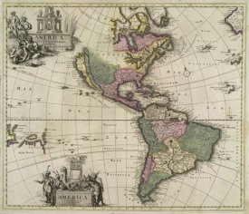Pieter Schenk - Western Hemisphere with double cartouche and California depicted as an island, 1695