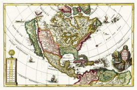 Henrich Scherer - Atlas Novus - North America, Central America and the Caibbean - Tinted Version, 1700