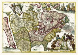 Henrich Scherer - Atlas Novus - North American European Territories - Tinted Version, 1700