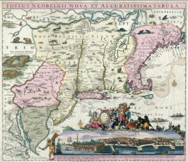 Carl Allard - New England and New York with inset depicting then development of lower Manhattan, 1684