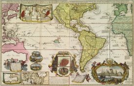 Henrick De Leth - Americas with trade routes from Europe to Southeast Asia, 1730