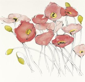Shirley Novak - Black Line Poppies I Watercolor