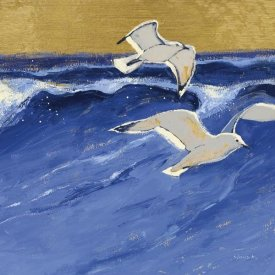 Shirley Novak - Seagulls with Gold Sky III