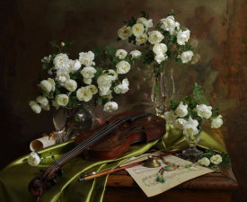 Andrey Morozov - Still Life With Violin And Flowers