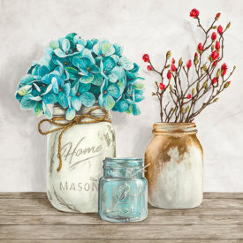 Jenny Thomlinson - Floral composition with Mason Jars I