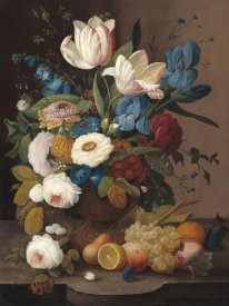 Severin Roesen - Still Life, Flowers, and Fruit