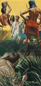 Mort Kunstler - Village of Amazon Man Snatchers