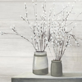 Julia Purinton - Pussy Willow Still Life Gray Pots Shiplap