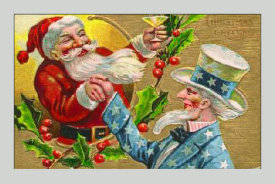 Hollywood Photo Archive - Santa with Uncle Sam Litho