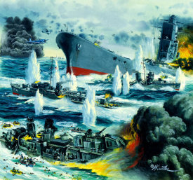 Mort Kunstler - Harm's Way: Sinking of the Yamato