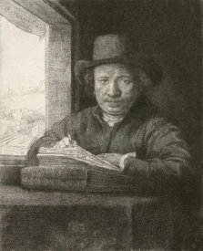 Rembrandt van Rijn - Rembrandt Drawing at a Window, 1648