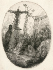 Rembrandt van Rijn - Christ Crucified between the Two Thieves: An Oval Plate, ca. 1641