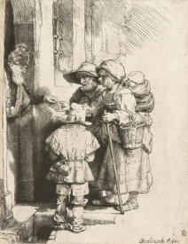 Rembrandt van Rijn - Beggars Receiving Alms at the Door of a House, 1648