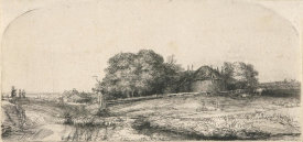 Rembrandt van Rijn - Landscape with a Hay Barn and a Flock of Sheep, 1652