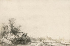 Rembrandt van Rijn - Cottage beside a Canal, ca. 1645