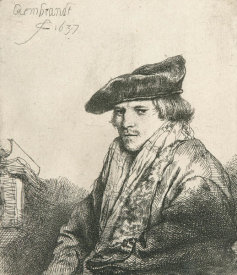 Rembrandt van Rijn - Young Man in Velvet Cap with Books beside Him, 1637