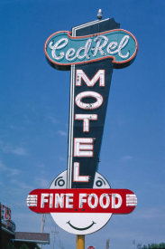 John Margolies - Ced-Rel Motel sign, Route 30, near Atkins, Cedar Rapids, Iowa