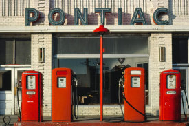John Margolies - Four gas pumps, Weld County Garage, Rt. 85, Greeley, Colorado