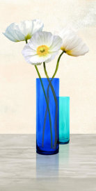 Cynthia Ann - Poppies in crystal vases (Aqua II)