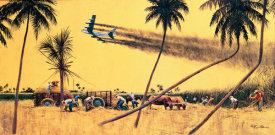 Mort Kunstler - Cutting Sugar Cane at Ramey AFB, Puerto Rico