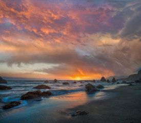 Tim Fitzharris - Sunset along coast near Arch Rock, California