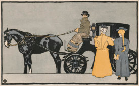 Edward Penfield - Women getting into a Carriage - art detail from Harper's for November, 1898