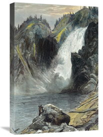Thomas Moran - The Upper Yellowstone Falls (A Colored Engraving)