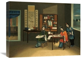 Chinese School - An Interior With a Woman Painting Flowers