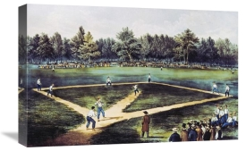 Currier and Ives - The American National Game of Baseball at The Elysian Fields