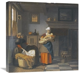 Pieter De Hooch - A Young Woman and a Girl Putting a Baby To Bed In a Cradle