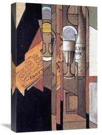 Juan Gris - Glasses, a Newspaper and a Bottle of Wine