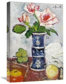 George Leslie Hunter - Pink Roses In a Chinese Blue and White Gu-Shaped Vase