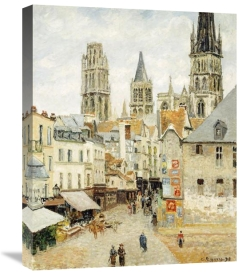 Camille Pissarro - Rue De L'Epicerie In Rouen On a Gray Morning
