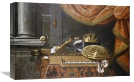 The Master of The B.B. - Lutes With a Clavichord On a Table, a Red Curtain Above