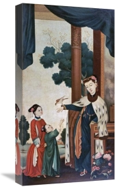 Chinese School - A Mandarin's Wife With Their Two Daughters