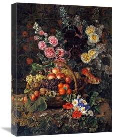 Johan Laurents Jensen - A Still Life of Flowers and a Basket of Fruit