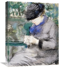 Edouard Manet - Girl Sitting in the Garden Knitting, 1879