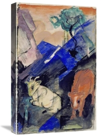 Franz Marc - Two Cattle In a Hilly Landscape