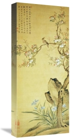 Wang Wu - A Bird Standing On a Peach Blossom Tree