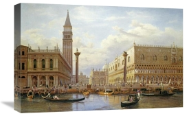 Salomon Corrodi - A View of The Piazzetta With The Doges Palace From The Bacino, Venice