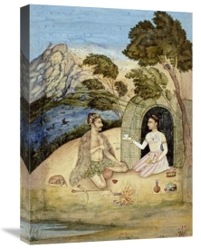 Kashmir - A Lady Entertaining a Bhil By Ali Quli Jubadar