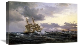Wilhelm Melbye - Sailing Vessels In a Stormy Sea