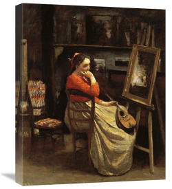 Jean-Baptiste-Camille Corot - Corot's Studio, Young Woman With a Mandolin