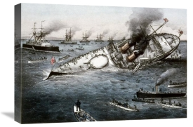 Currier and Ives - Sinking of The Battleship Victoria Off Tripoli,Syria, June 22, 1893