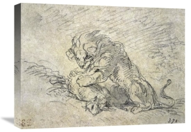 Eugene Delacroix - Lion Consuming a Sheep