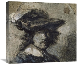 Rembrandt Van Rijn - Self Portrait With Cap of Feathers and a Whitecollar - Study